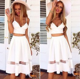 Wholesale White Peplum Mini Skirt - 2015 Newest Two Piece Spaghetti Crop Top Midi Skirt Set Casual Slips Lace Tulle Patchwork Summer Holiday Beach White Long Maxi Dress M254