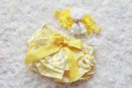 Wholesale Chevron Diapers - 18%OFF 1set yellow chevron baby Girl headband and Ruffle Bum Baby Bloomer,yellow chevron Diaper Cover, Ruffle Bum, Newborn Headband Set