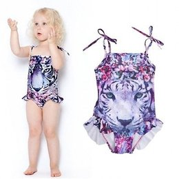 Wholesale Cute Swimsuit Girl - Wholesale- 2017 3-10Y Kids Girls Tiger Print Cute Tankini Swimwear One-piece Swimsuit Swimming Costume Age 3-10Y biquini 2017 new summer