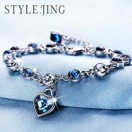 Wholesale Wholesale Diamond Beads - Austrian crystal full diamond bracelet Silver plated birthstone Crystal jewelry Optional multicolor Crystal Bracelet maxi statemet