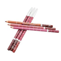 Wholesale wooden pencils set - Wholesale- 5PCS Female Lots Lipliner Pencil Set 5 Colors Wooden Lip Liner Pen Long Lasting Waterproof Nature Makeup Beauty Cosmetic Tools