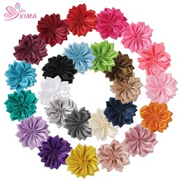 Wholesale Mini Flower Clips - XIMA 25PCS 20PCS Mini Polyester Ribbon Flowers Handmade DIY Hair Flower for Hari Accessory Cheap Flowers Without Clips