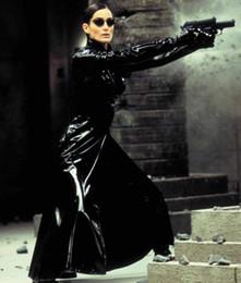 Wholesale Dress Black Matrix - Wholesale-The Matrix Trinity Costume Sexy Catsuit Black Long Shiny Latex Gothic fancy dress S M L XL