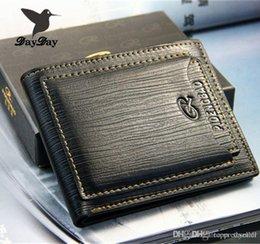Wholesale Vintage Money Clips - 2015 New fashion genuine leather men's wallets designer famous brand money clip vintage carteiras three color Free Shipping A5