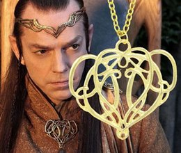 Wholesale movie tin signs wholesale - 14pcs gold plated alloy Movie The Hobbit Goblin King Elrond Totem sign Vines necklace Badge Tree rattan pendant necklace 2017 boy Hot x099