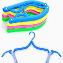 Wholesale Plastic Clothes Hangers Free Shipping - DHL Free shipping Multicolour Travel Folding Clothes Hanger Rack foldable coat clothes rack for Outdoor Garments Hook
