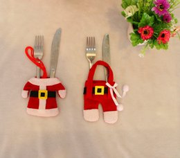 Wholesale Christmas Pouch Pants - Christmas Table Decoration Cutlery set Mini Clothes Pants Suit Dinnerware Fork Spoon Pouch Xmas Party Home Layout Yellow Buckle