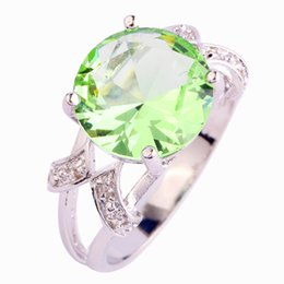 Wholesale Round Brilliant Ring - Wholesale-2015 New Brilliant Green Amethyst 925 Silver Ring Round Cut Size 6 7 8 9 10 11 12 13 Wholesale Free Shipping For Unisex Jewelry