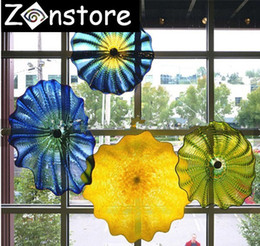 Wholesale Large Murano Art - 2018 New Trend Hotel Large Decor Plates 100% Hand Blown Glass Chihuly Murano Glass Art Cheap price Glass Plate for Wall or Ceiling
