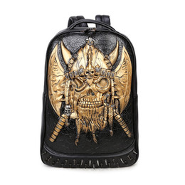 Wholesale Leather Luggage For Men - Unique personality backpack trend 3D devil leather backpack travel luggage bags girly backpacks for high school