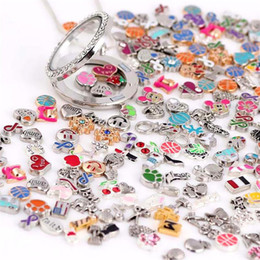 Wholesale Glass Birthstone Locket - Wholesale-New Mix Design Assorted Floating Locket Charms For Living Glass Locket Christmas Gift Round Birthstone For memory locket