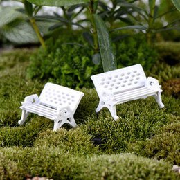 Wholesale Bench Garden - 8pcs Beach Bench Chair Small Fairy garden decoration miniatures Glass Ball terrarium figurine Moss zakka resin craft ornaments