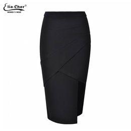 Wholesale Pencil Skirt Knit - Wholesale- Womens Casual Solid Black Skirts Eliacher Brand Pencil Skirt Plus Size Women Clothing Sexy knitting Lady Midi Skirts vestidos