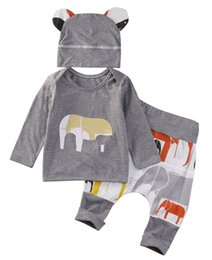 Wholesale American Style Hats For Children - Baby Clothing Cotton Children Clothing Set Cartoon Elephant Printing Long Sleeved T shirt Harem Pants Hat 3PCS Kids Clothing Set for Boy