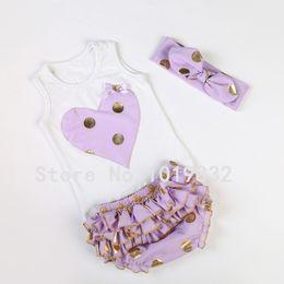 Wholesale Top Baby Headband Yellow - Wholesale-Baby Girl Clothing Set Tank Top + Bloomer + Headband
