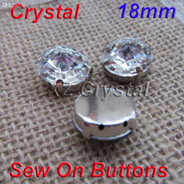 Wholesale Rivoli Jewelry - Wholesale-Wholesale 18mm 100pcs lot Rivoli Clear Crystals Diamond With Metal Claws Settings 4 Holes Fancy Stones For Jewelry Decoration