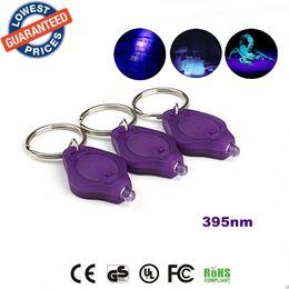 Wholesale Uv Detectors - ALONEFIRE 10 Pack Purple 395nm Uv LED Flashlight Mini Keychain Id Currency Passports Detector lamplight