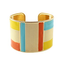 Wholesale Gold Exaggerated - (4 colors) Fashion Cuff Bracelets Bangles Exaggerated Gold Color with Colorful Enamel Bracelets New
