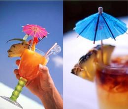 Wholesale Luau Party Umbrellas - 50 pcs lot Paper Cocktail Parasols Umbrellas drinks picks wedding Event & Party Supplies Holidays luau sticks