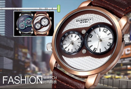 Wholesale High Quality Watches Eyki - vintage leisure mens leather wrist watches brand high quality DUAL TIME display rose gold dial japan quartz watch for men clock