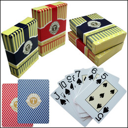 Wholesale Wholesale Playing Card Decks - 100 % Plastic Cards Poker Red Texas Playing Card Poker Primary Waterproof 54 Blue Scrub Plastic Cards Deck Club Gambling Game