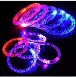 Wholesale Led Blinking Bracelets - PrettyBaby LED Colorful Flashing Bracelet Light Acrylic Blinking Bracelets Hand Ring Bangle Stunning Dance Party Christmas Gifts