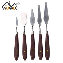 Wholesale painting knives set - Wholesale- 5pcs Set Palette Knife Set Stainless Steel Paint Mixing Scraper Pasty Cream Cake Spatula Fondant Tools Sets Baking & Pastry Tool