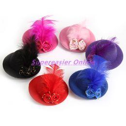 Wholesale Kids Mini Top Hats Wholesale - 6pcs lot Mini Top Hat Hair Clip Feather Flower Cap Fascinator Fashion Party Girls Kid Hair Accessories Christmas Decor Children Headwear