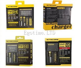 Wholesale E Cigarette Ego Lcd - Original Nitecore I2 I4 D2 D4 Universal Intellicharger LCD Display Ego Charger for 18650 18350 18500 14500 Li-on Battery E Cigarette Charger