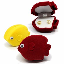 Wholesale Jewellery Ring Display Case - New Arrival Ring Cute Goldfish Jewellery Display Velvet Boxes Cufflinks Storage Tray Fashion Jewelry Case Holder Organizer