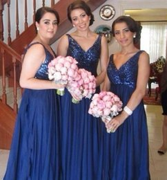 Wholesale Royal Blue Wedding Dress S - Cheap Dark Blue Long Bridesmaid Dresses Deep V Neck Sleeveless Chiffon Sequins Bridal Dresses For Wedding Gowns Party Dresses