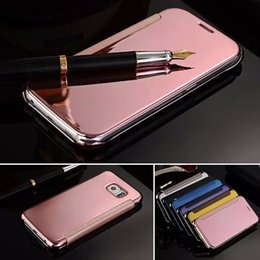 Wholesale Note Chrome Case - For Samsung Note 5 Note 4 Mirror Leather Case Clear Window View Chrome Flip Cover Case for Galaxy Note4 Note5 N9100 N9200