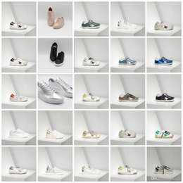 Wholesale Champagne Colour Shoes - New 28 colour Italy Luxury superstar Handmade Do the old Golden Goose GGDB Leather fashion casual shoes for men and women