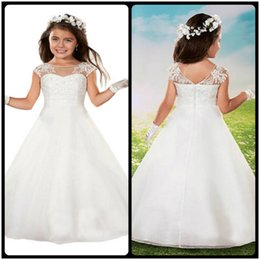 Wholesale Cheap Lavender Flowers - Cut Formal Beading Princess Scoop Neck White First Communion Dresses vestidos de Cheap Floor Length Flower Girl Dresses With Lace Appliques
