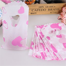 Wholesale Bamboo Plastic Bag - Wholesale- 2015 Fashion Style Wholesale 50pcs lot 9*15cm Small Heart Plastic Gift Bags With Handles Packaging Gift Bags