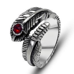 Wholesale Men Feather Ring - Hot Design Feather Shape Men Ring Red Gemstone Rings Vintage Ring Titanium Steel Ring Women Little Finger Ring