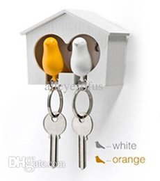 Wholesale Sparrow Key House - Wholesale-1Set Free Shipping Double Whistle Bird House Car Keyring Wall Mount Hook Key Hanger Holder Plastic Sparrow Key Holder 18023