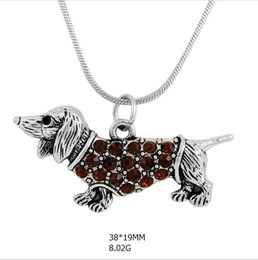 Wholesale Rhinestone Pendant Charm Pet - snack chain zinc alloy antique silver plated crystal body animal pendant pet dog charms necklace for wholesale