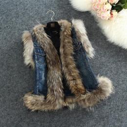 Wholesale Waistcoat Women Real Fur - Wholesale-Fur Denim Vest Fashion Fox Wool Waistcoat Women Autumn High Quality Stitching Jean Jacket Real Sleeveless Fur Denim Vest S-2XL