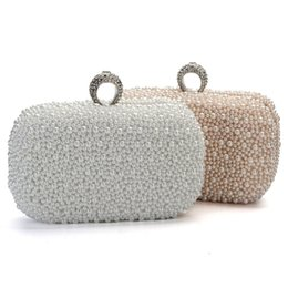 Wholesale Evening Clutch Chain - 2015 Women Evening Clutch Bag Gorgeous Pearl Crystal Beading Bridal Wedding Party Bags CrossBody Handbags Phone Lady