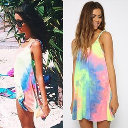Wholesale Sexy Dress Factory - dongguan factory Summer Women Dress Vestidos Casual Strap Bohemian Print Rainbow Tie Dye Off Shoulder Gradient Mini Sexy Beach Dresses R-ZYQ