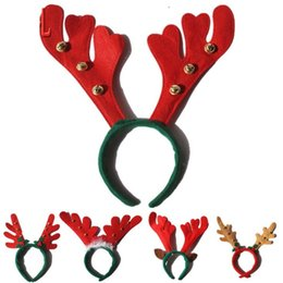Wholesale Wholesale Antler Headbands - Christmas Headband Children Antlers Head Hoop With Small Bells Cute Elk Christmas Decorations Cartoon Animal Modeling wen4805