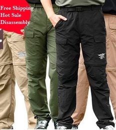 Wholesale Fast Drying Pants - Free shipping Outdoor Anti-UV Fast Dry mens zip off hiking Pants fishing Active military camping Pants tactical pants breathable 4 color