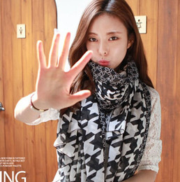 Wholesale Women Wholesale Apparel - 2015 Korean women winter scarf houndstooth printed voile scarves lady fashion apparel & accessaries