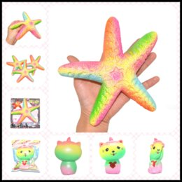 Wholesale Keyring Stars Wholesale - 2017 New Jumbo Squishy 15~18cm Rainbow Cat& Sea Star Soft Toys Decompression Squishies Gadgets by Pressing as Keyring