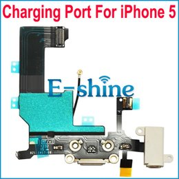 Wholesale Headphone White - For iPhone 5 Dock Connector Charging Port Flex Cable With Headphone Audio Jack Ribbon Replacement Black and White Original New