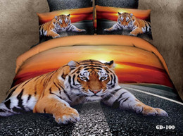 Wholesale Tiger Quilt Cover King Size - Wholesale-3D Tiger animal print sunset bedding set king queen size duvet quilt cover bedspread bed in a bag fitted sheet linen 100% cotton