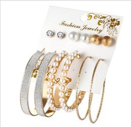 Wholesale Earings Sets - 6 pairs a set Ear Stud Earings Hoop Huggie Circle for Women Girls Big Brand Golden Silver Plated Jewelry