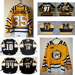 Wholesale mens nails - Cheap Customize OHL Sarnia Sting Jersey 91 Steven Stamkos 10 Nail Yakupov 17 Martin Mens Womens Kids Stitched Hockey Jerseys Goalit Cut