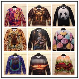 Wholesale Long Style Sweatshirts - FG1509 2015 New Arrive 3D Animal Hoodies For Men Women 9 Style Hip Hop Long Sleeve Round Neck Printed Brand Polyester Cotton Sweatshirt